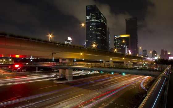 china, город, shanghai, дорога, ночь, азия, beijing,