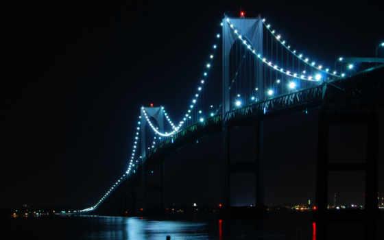 мост, ночь, фонари
