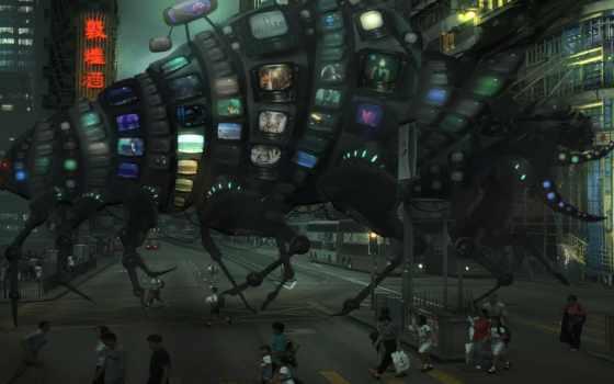 art, девушка, мониторы, darkness, robot, desktop,