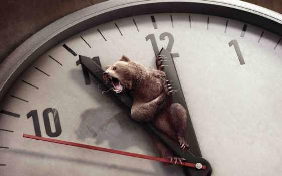 часы, time, медведь, стрелки, циферблат, когти,