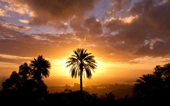 закат, небо, oblaka, дома, dubai, небоскребы, бурдж, города, башни, water, халифа,