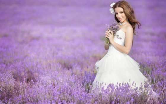 девушка, поле, лавандовое, улыбка, букет, margin, природа, невеста,