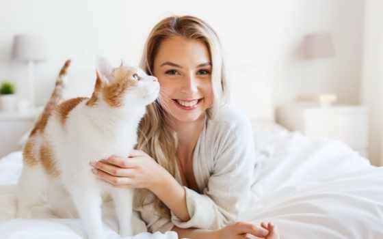 девушка, кровать, кровати, улыбка, blonde, кот, счастливая, котом,