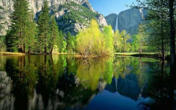 , озеро, отражение, природный ландшафт, природа, водоем, вода,  дерево,