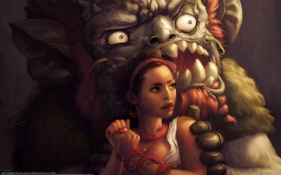 art, black, davey, paul, monster, девушка, darkness, fantasy, красавица, биг
