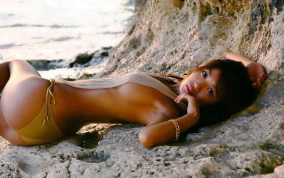 tsugihara, kana, девушка, купальник, берег, картинка,