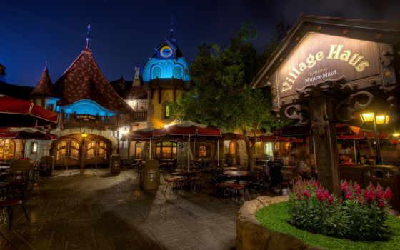 street, night, usa, california, cities, café, disneyland, download, photo,