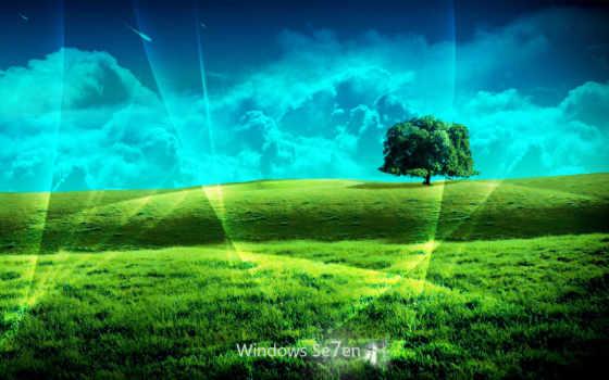 windows se7en холмы, дерево, трава и небо