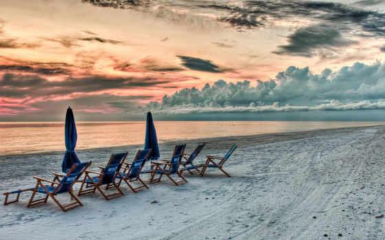 небо, закат, пляж, красивый, облаках, вид, широкоформатные,