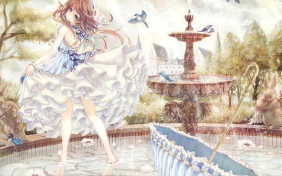 anime, птицы, девушка, fountain, голубые, свет, коллекция, об, летают, зонтик,