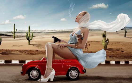 девушка, авто, car, автомобили, красном, автомобиле,