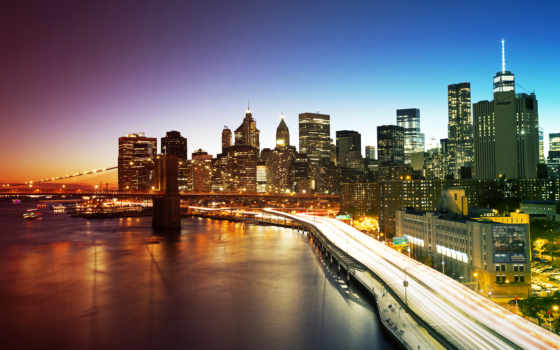 мост, york, new, бруклин, manhattan, город,