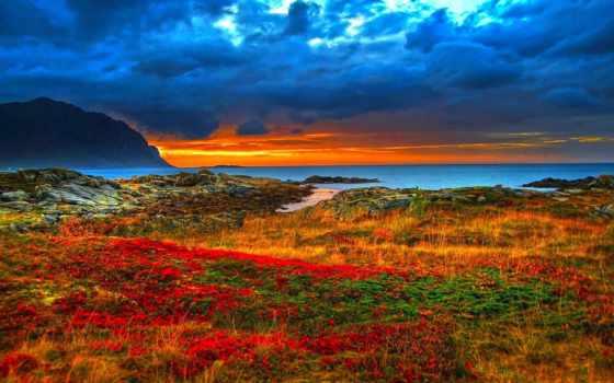 небо, iceland, оригинальные, цветы, закат, море, горы, заставки, горизонт, фотографий, каждый,