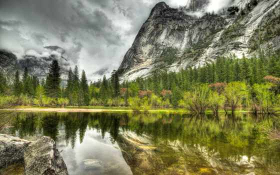 park, природа, гора, national, озеро, landscape, hdr, yosemite,