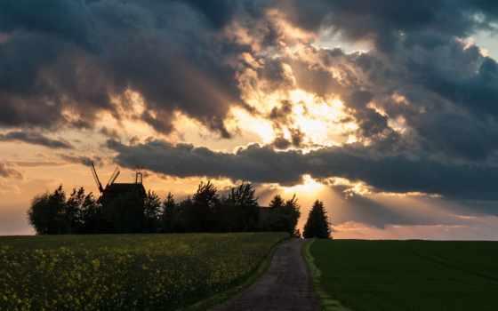 campo, cielo, atardecer, сол, fondo, pantalla, del, nubes, paisajes,