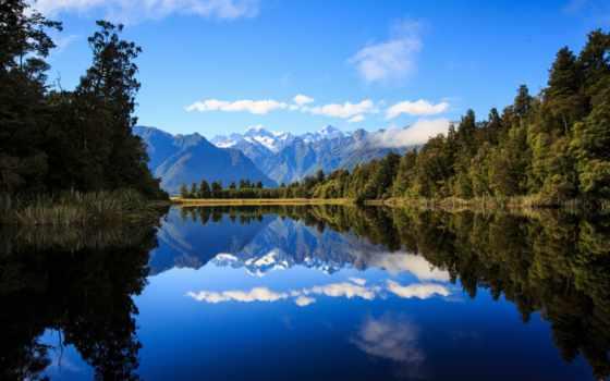 озеро, matheson, new, zealand, альпы, southern, free, зеркало,