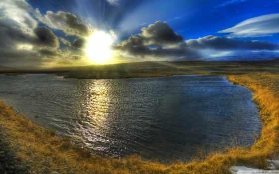солнца, rising, море