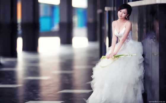 una, novia, por, sin, asiática, novias, que, con, vestido,