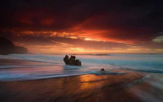 , ,, море, горизонт, небо, закат, океан, восход солнца, послесвечение, спокойствие, берег, волна, red sky at morning, утро, обои