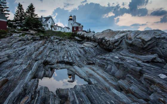 pemaquid, мэн, lighthouse, point, bay, атлантического, океана, сша,