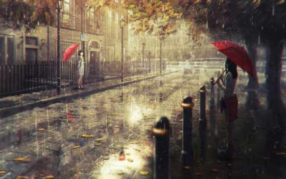 город, дождь, art, арта, девушка, anime