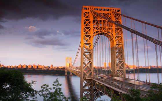 мост, нью, йорк, город, красота, сша, картинка, джерси, вашингтона, джорджа, картинку,