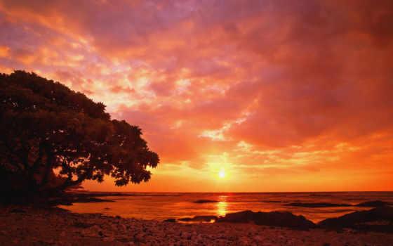 закат, море, red
