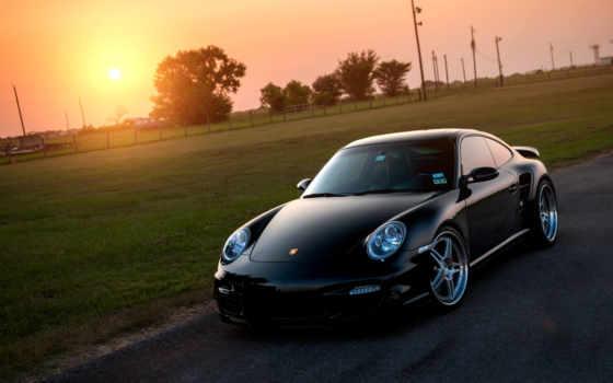 porsche, turbo, black, sun, авто, flare, газон, автомобили,