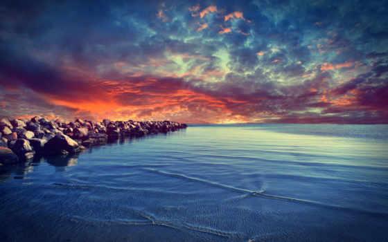 море, закат, небо, природа, свечение, water, камни, страница,