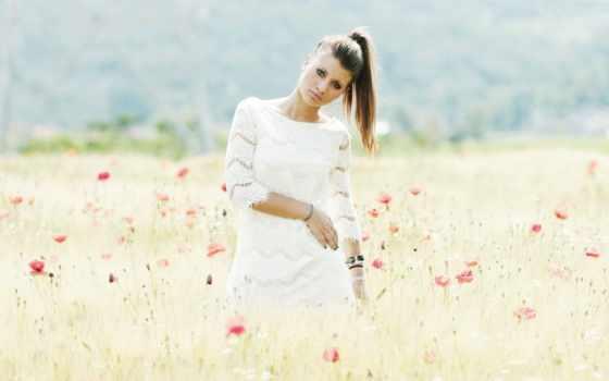 модель, девушка, красавица, поле, фото, poppies,