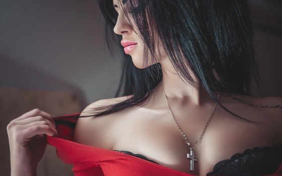 , плечо, секси, брюнетка