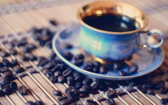 coffee, cup, зерна, , красивые, макро, голубой,