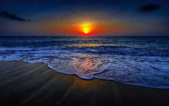 morze, fale, zachód, słońca, plaża, preview, волны, море,