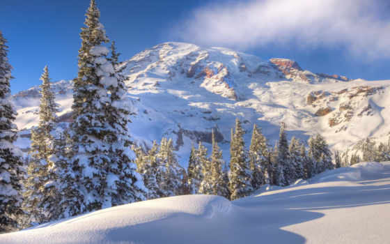 winter, горы, снег