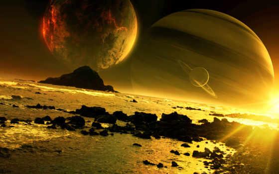 cosmos, закат, planet, art, qauz, спутники, море, скалы,