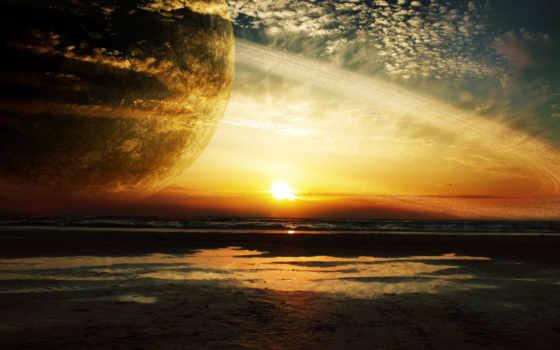 закат, море, кольца