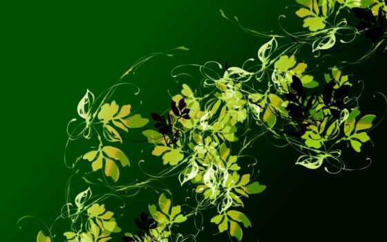 tạo, grafika, zielone, listeczki, pulpit, tapety, obrazy, фотообои, графика, абстракция,