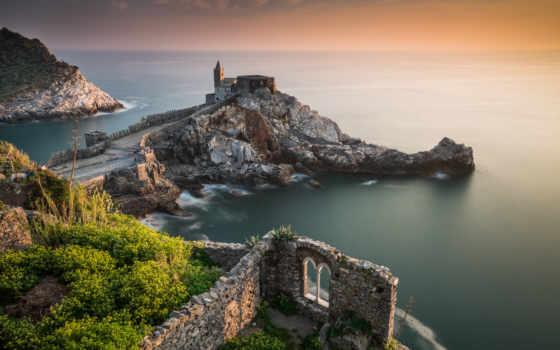 italian, portovenere, liguria, bay, puzzle, castle, online, тигуллио, church, побережье,