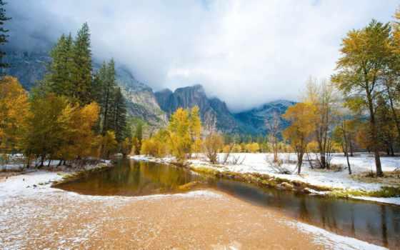 снег, осень, initial, горы, природа, landscape, река, reki, заднем, природы, интересные,