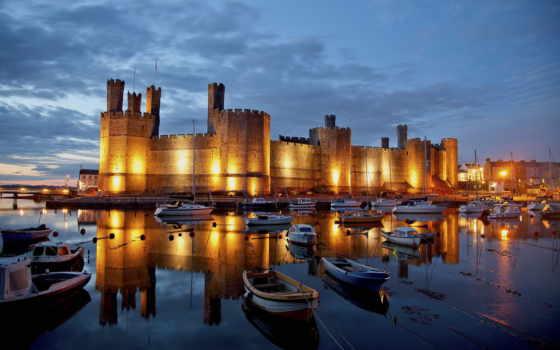 великобритания, castle, картинка, карнарвон, небо, англия, города, caernarfon, bay, reki,