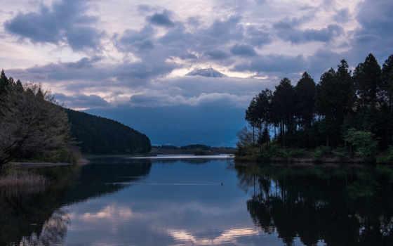japanese, гора, озеро, фудзи, фудзияма, вулкан, вечер, хонсю, префектура, небо, shizuoka,