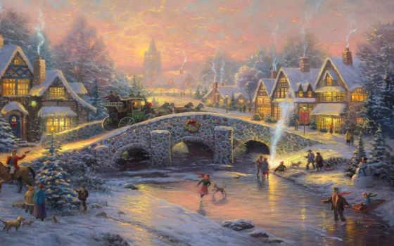 рождества, дух, sledge, christmas, красивая, coach, мост, нарядная, кони, деревушка,