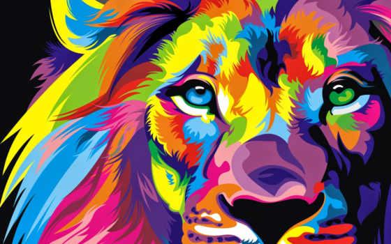 lion, взгляд, color, текстуры, fantasy, goodfon,