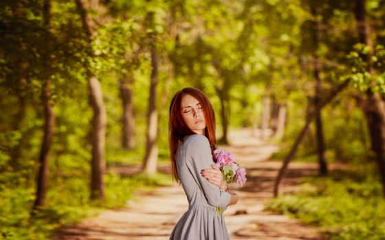 caminos, flores, imágenes, rosa, color, forestales, morena,