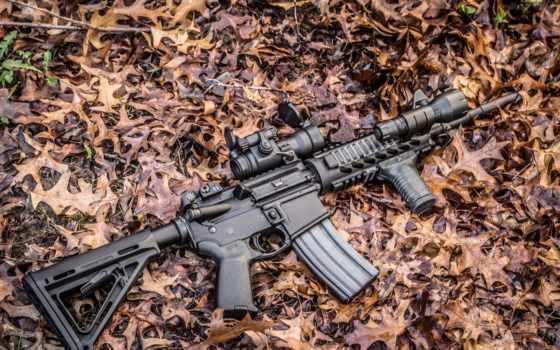 винтовка ar-15 на листьях