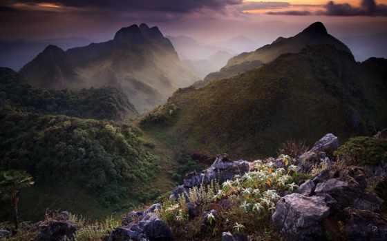 горы, chiang, thai