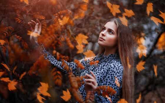 девушка, сергей, поза, осень, смотреть, платье, лист, взгляд