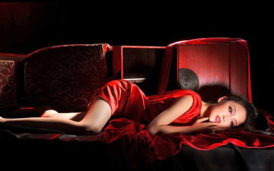 платье, красном