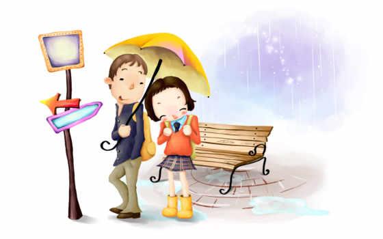 застеснялась под зонтом