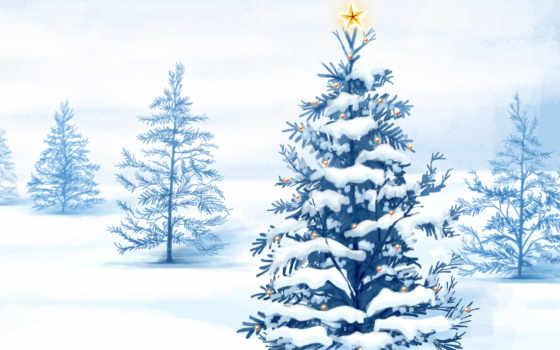 дерево, рисунок, снег